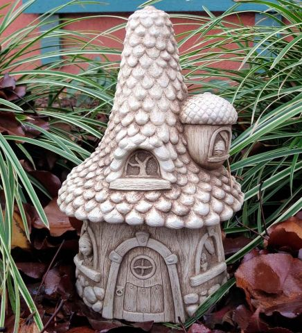 Pinecone Cottage Fairy Garden Ornament Made from Cast Stone