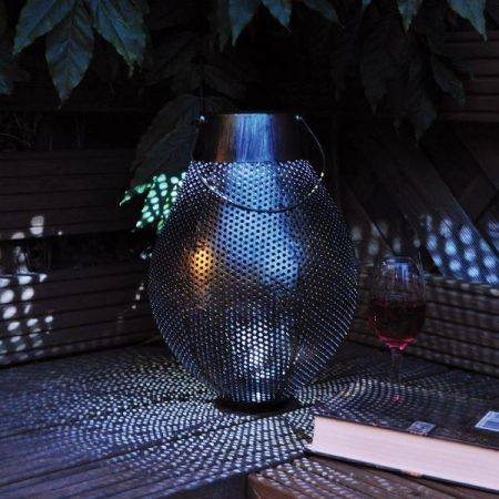 Large Contemporary Steel Lantern with Gold Finish.  36cm tall. Solar Powered.