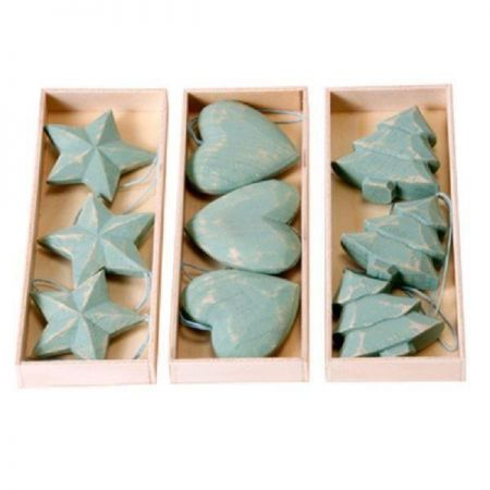 Jade Wooden Heart Carved & Painted Christmas Tree Decorations / Hangers x 3
