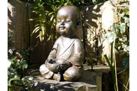 Contented Monk Garden Statue with Bird Feeding Bowl