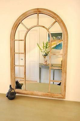 Garden or indoors metal framed mirror. Norwich Style.  Aged finish. 98cm tall