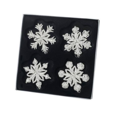 Set of 4 Sparkle Glass Snowflake Christmas Tree Decorations