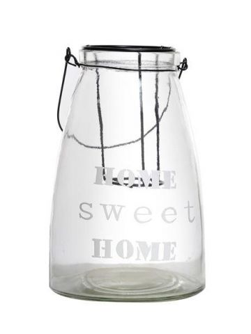 Contemporary Glass Candle Jar with Home Sweet Home Motif. 27cm