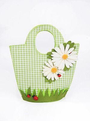 Easter felt bag with daisy flowers and ladybirds . Easter egg hunt, Mothers Day.