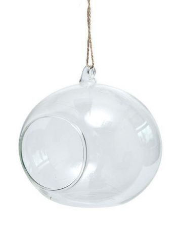 Clear Glass Hanging Sphere Tealight Holder or Terrarium.