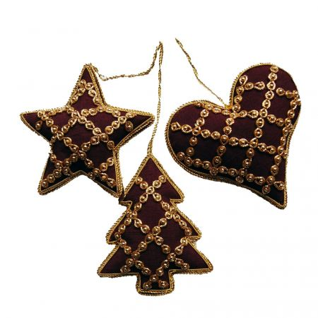 Luxuriant Beaded Christmas Tree Decorations x 3