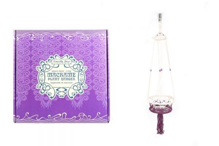 Macrame Pot Hanger two supporting rings- Purple Colour