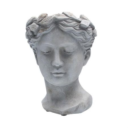 Goddess Head Planter Statue made from Reconstituted Stone Medium Size