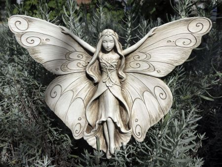 Madame Butterfly Plaque from Carruth Studio Made from Cast Stone