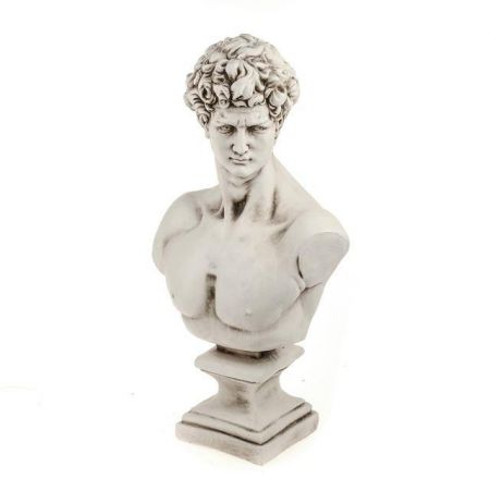 David Bust Garden Statue Made from Crushed Stone & Polyresin. 58cm Tall