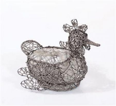 Weatherproof Rattan Chicken Planter. Quirky. Grey Colour