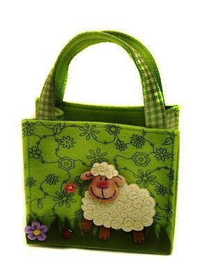 Easter Felt bag with Lamb & Flowers . Easter egg hunt, Mothers Day.
