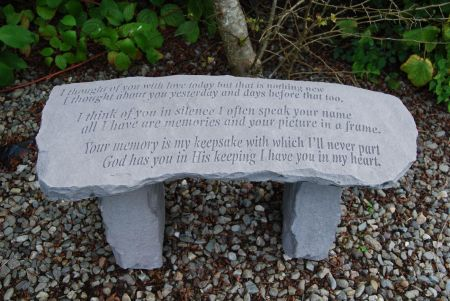 Stone Memorial Bench with Inscription I thought of you today...