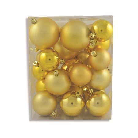 Outdoor Gold Baubles Value Pack.  Contains 31 in  Matt and Gloss, 5, 6 & 7cm