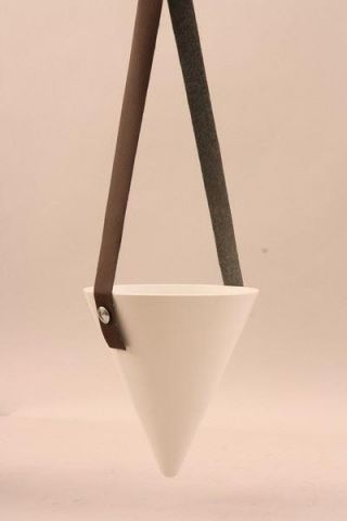Cone Shaped White Ceramic Hanging Pot.  Contemporary Styling