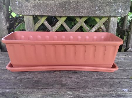 Terracotta coloured plastic trough with Drip Tray. 60cm long. Etruscan design