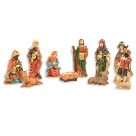 Set of 10 Traditional Resin Nativity Figurines