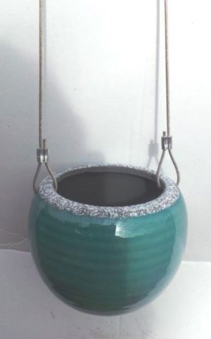 Hanging Ceramic Turquoise Pot 11cm diameter