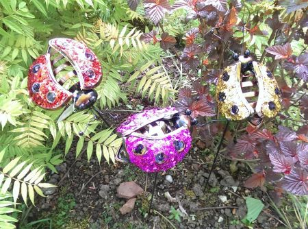 Sparkly Glitter Dancing Ladybirds on Stakes Garden Jewellery x 3