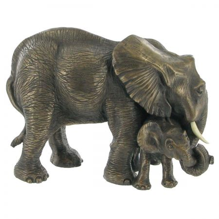 MOTHER AND BABY ELEPHANT, COLD CAST BRONZE SCULPTURE BY BEAUCHAMP BRONZE