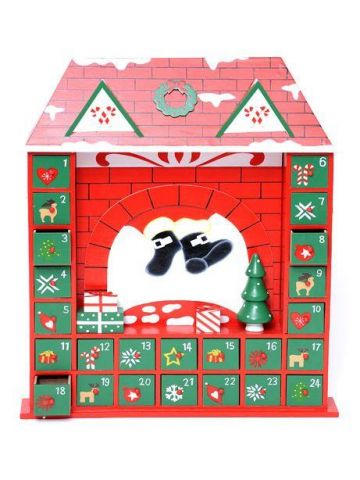 Handcrafted Wooden Advent Calendar of Santa coming Down The Chimney
