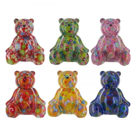 Pomme-Pidou Ceramic Bear Money Box.  Colourful and Collectable. PINK