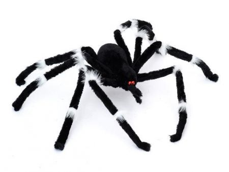 Halloween Black Spider with White Hairy Knuckles 75 x 13 x 7cm