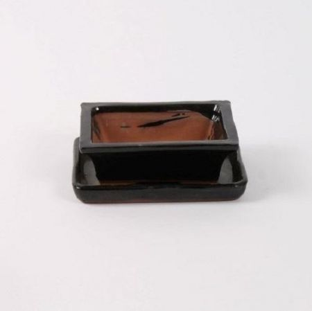 Ceramic Bonsai Dish with Saucer Rectangular BLACK 15cm. Bonsai pot