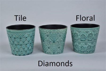 Napoli Blue Ceramic Glazed Flower pot. 19 x 18cm. House Plant Pot Cover.