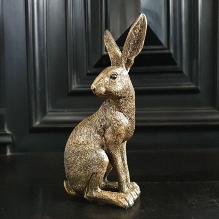 Golden Hare Garden Ornament Statue 21cm tall