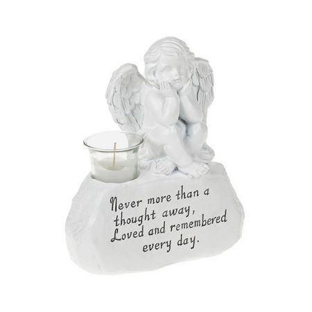 Cherub on Stone with Inscription Memorial Ornament with Votive