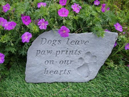 Dogs leave Pawprints on our Hearts Memorial Stone 37 x 24cm approx