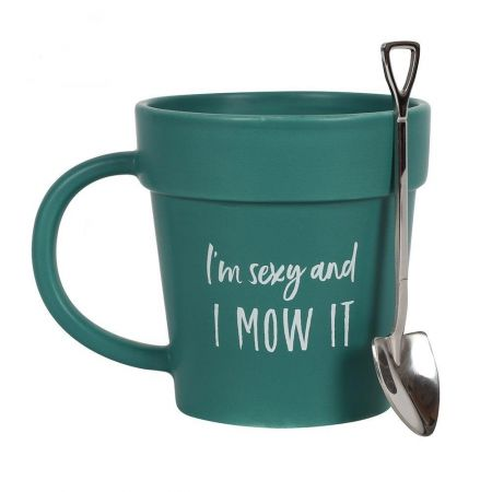 I'm Sexy and I Mow It Mug & Spoon Gift Set Gift for Gardener