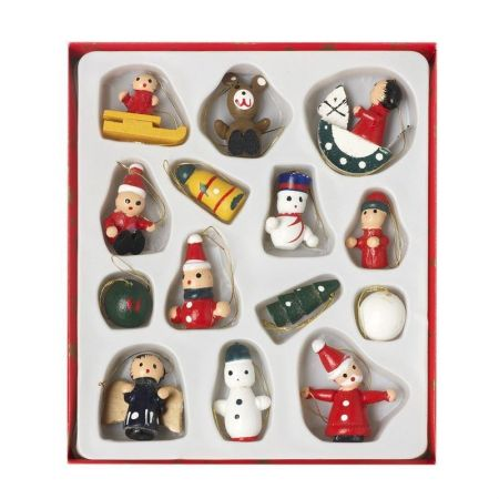 Traditional Wooden Christmas Tree Decorations.  Set of 14