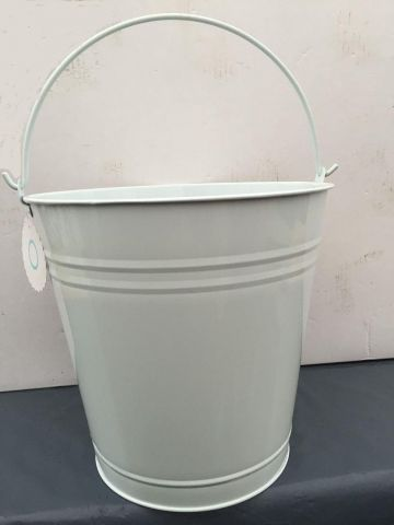 Contemporary White Metal Bucket.