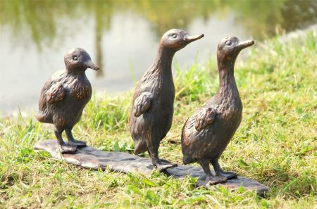 Ducklings Garden Statue.  Cast in Aluminium with an Aged Bronze Finish