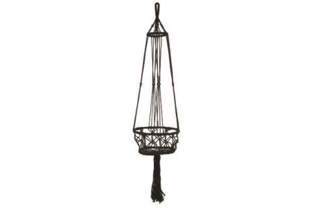 Macrame Pot Hanger two supporting rings-  Black Colour