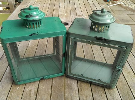 Vintage Style Lantern with Aged Painted Finish.  Turquoise