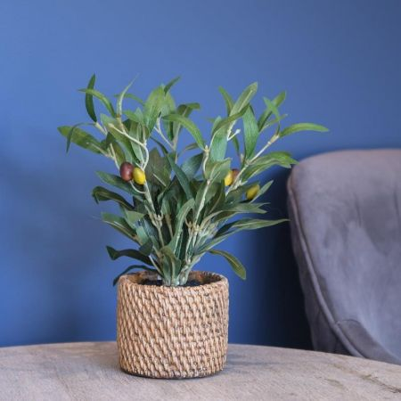 Olive Tree Plant Artificial Plant in a rattan Pot 30cm tall