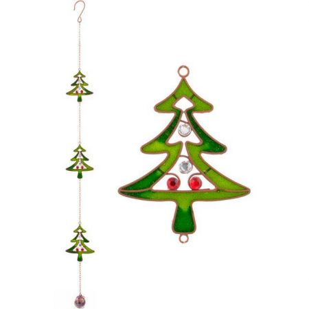 Set of 2 Handcrafted Glass and Crystal Christmas Tree Garland