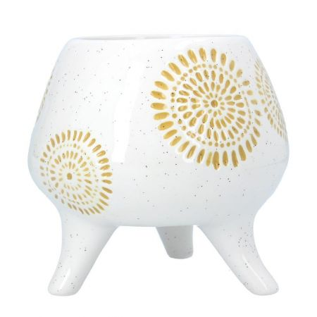 Sunburst Ceramic Footed Plant Pot / pot cover from Gisela Graham Yellow