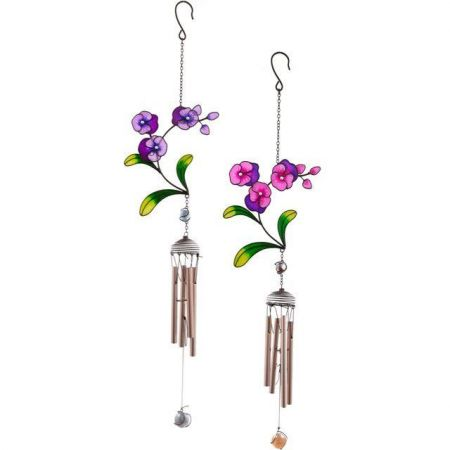 Handcrafted Glass Pansy Flower Windchime