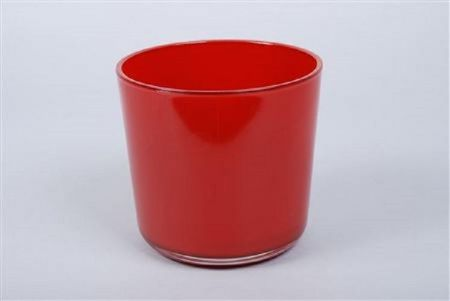 Red Glass House Plant Pot Cover.  17 x 16cm