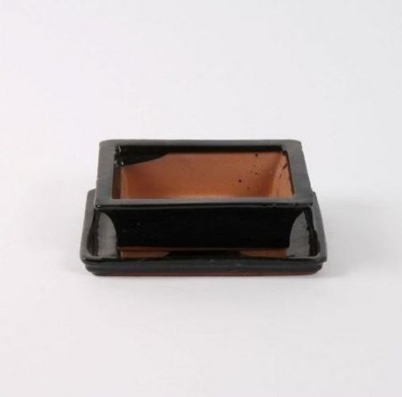 Ceramic Bonsai Dish with Saucer Rectangular BLACK 20cm. Bonsai pot