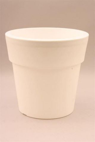 Plastic Flower Pot Shape Planter WHITE 24cm diameter. Indoors or Out