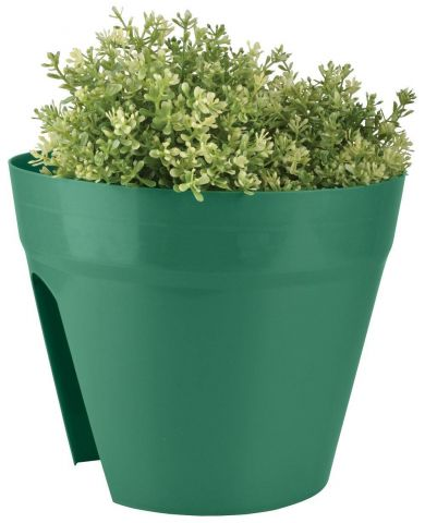 Balcony planter pot constructed from durable plastic in BOTTLE GREEN colour