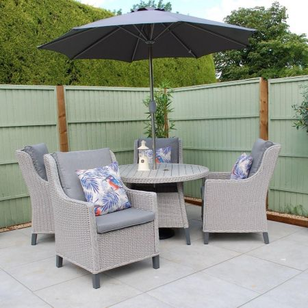 Oslo 4 Seater Round Dining Garden Set with 2.3m Stainless Steel Parasol and Base