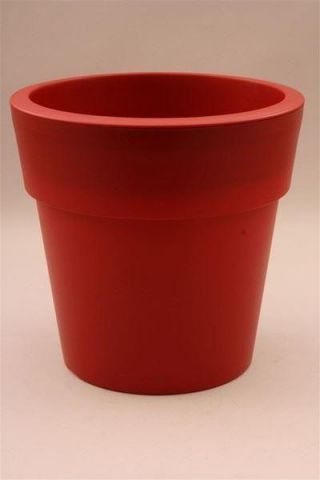 Plastic Flower Pot Shape Planter DEEP RED 34cm diameter. Indoors or Out