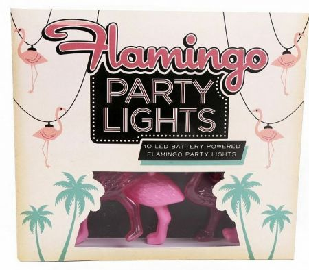 Pink Flamingo String of Party Lights.  10 LEDs fun lighting for patio or home
