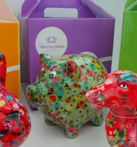 Pixie the Pig Pomme pidou moneybox. A pig with decoupage style! Choose your colour